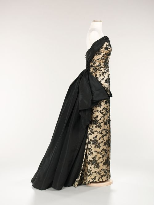 Balmain   c. 1953 --Would be an interesting wedding dress with removable train...in white and lace, of course.
