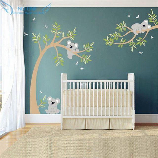 koala et branche mur autocollant koala arbre sticker avec. Black Bedroom Furniture Sets. Home Design Ideas