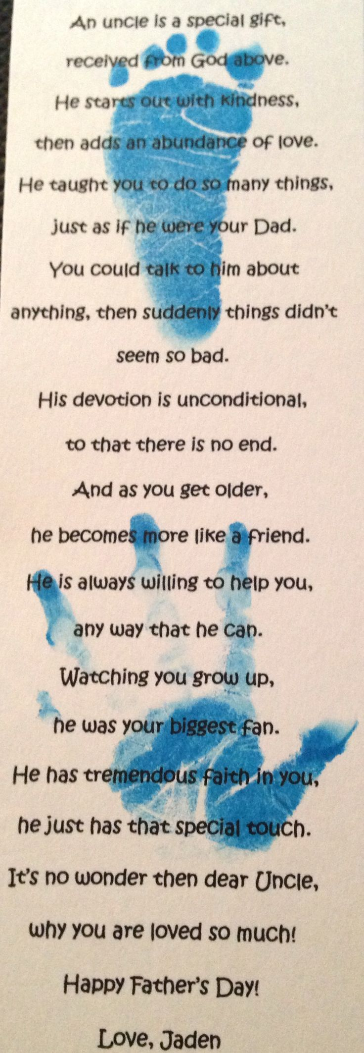 Fathers Day Uncle Poem for Jaden's Amazing uncles