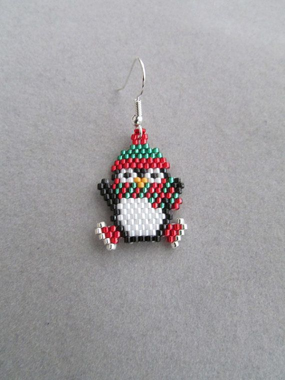These adorable little Ice Skating Penguin earrings would look so cute dangling from your ears. They measure about 3/4-inch wide and 1-1/4-inches long, excluding the ear wires. They contain approximately 400 tiny delica seed beads, intricately woven together, one bead at a time, with a beading needle and beading thread to create the finished cuties you see here.  The pierced fish hook ear wires are silver plated over surgical steel. If you prefer to have your penguins dangle from a post type…