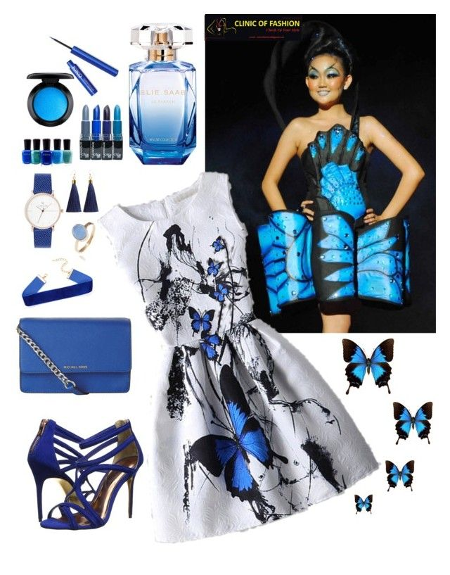 Inspiration from butterfly papilio ulyses by clinicoffashion on Polyvore featuring polyvore, fashion, style, Ted Baker, MICHAEL Michael Kors, Latelita, MAC Cosmetics, Elie Saab, Zoya and clothing