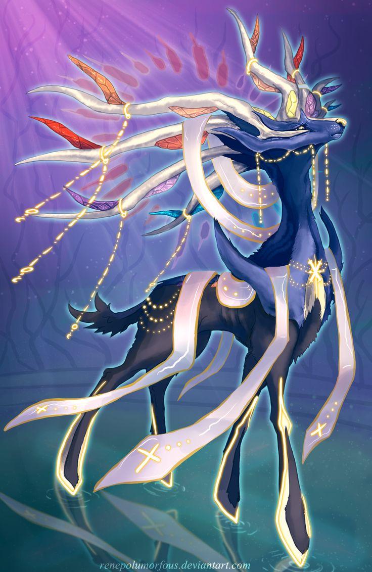 """High Seraph Xerxionas by RenePolumorfous.deviantart.com on @deviantART"" (if Xerneas had Mega evolution)"