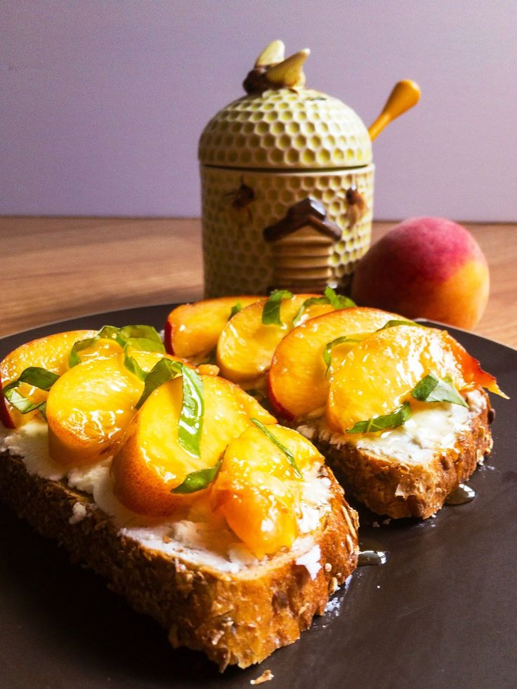 Peach, Basil, and Goat Cheese Toast | Jurisfoodence