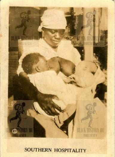 It was mandated that only one breast could be used to feed the white child...if she switched up and let both black and white babies suckle from the same breast, she could be whipped because it was like them sharing the same water fountain. She wasn't a paid wet nurse who chose this profession, she was an enslaved woman who had to feed all of the white babies first and her child last. if her milk went dry, the slave owner brought another woman, and the enslaved women's children went hungry.