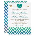 Tribal Arrow Blue Teal Chevron Wedding Invitation #weddinginspiration #wedding #weddinginvitions #weddingideas #bride