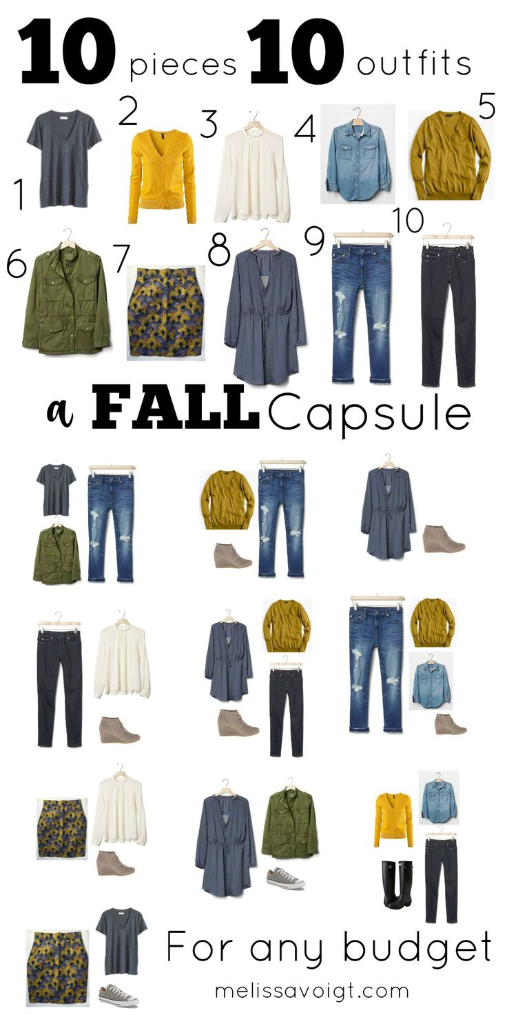 How to create a simple 10 piece capsule wardrobe for Fall. We have links to  pieces that will fit any budget.  You will be surprised at how this 10  piece wardrobe can create many stylish outfitsA great capsule for any  minimalist.