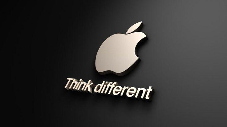 Una elaborazione del logo e del payoff della Apple.