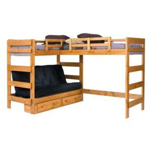 Bunk beds with a futon!! Two top bunks. This is awesome b