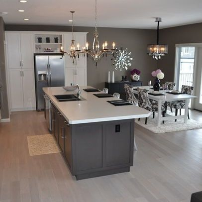Kitchen Dining Room Combo Layout Light Fixtures Above