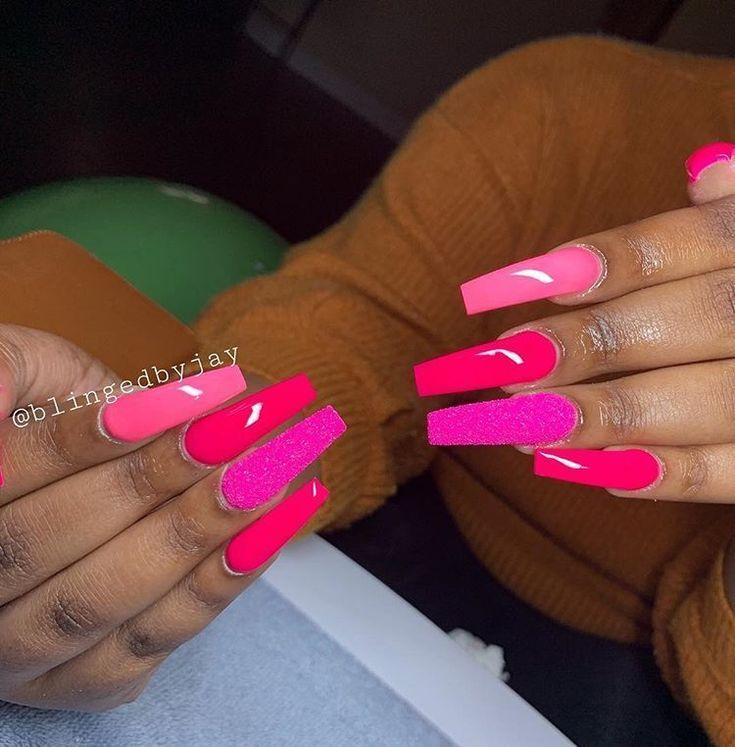 Pin on hot pink acrylic nails in 2020 | Pink acrylic nails ...