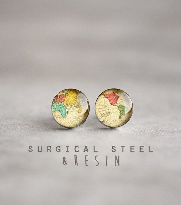World map earring studs Surgical steel studs by myBeltBuckle                                                                                                                                                                                 More