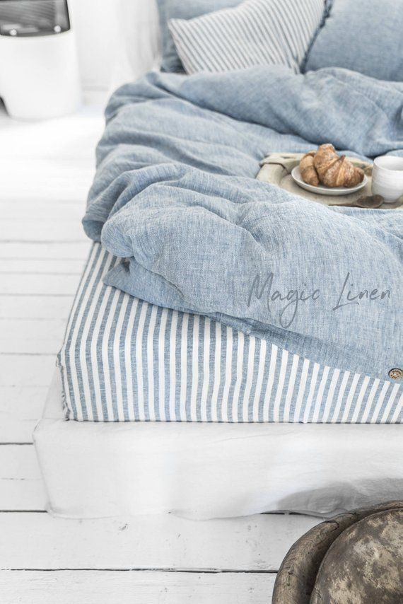 Blue Striped Linen Fitted Sheet Custom Size Bed Sheet King Etsy Bed Linen Sets Bed Linens Luxury Linen Duvet Covers