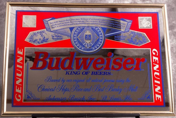 Genuine Budweiser King Of Beers Framed Mirror Sign Bar Wall Man Cave Vintage And Ware F C