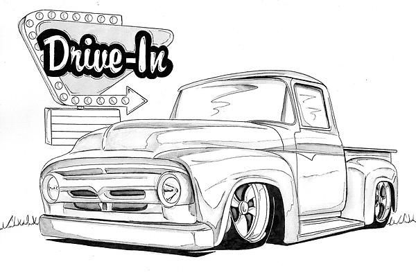 1956 ford mixed media vehicle line drawings pinterest mixed media ford and cars