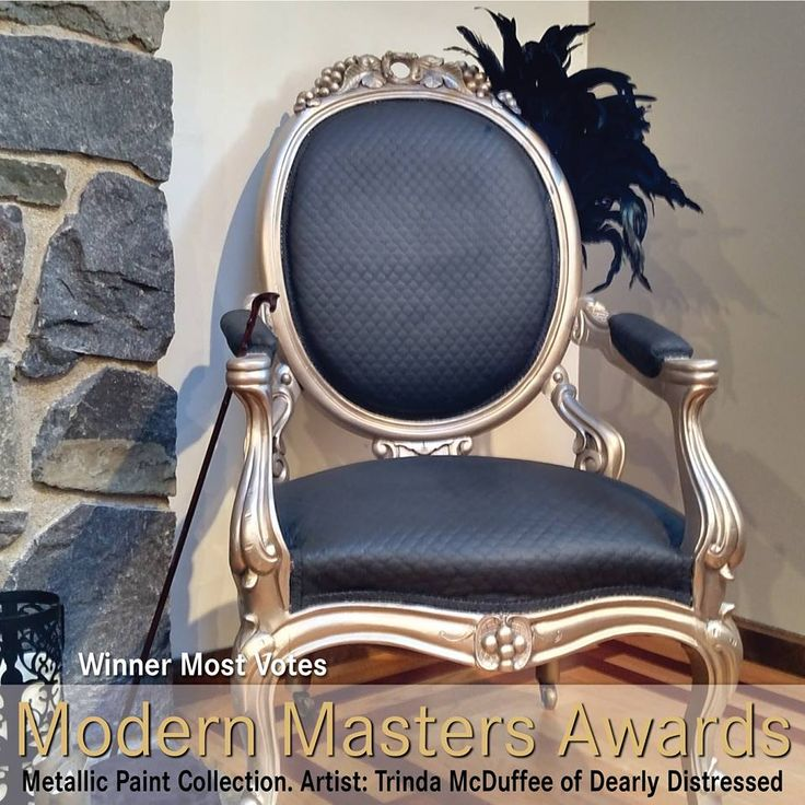 Metallic Paint Collection on Louis XV-style Chair | Modern Masters Warm Silver Metallic Paint | Artistry by Trinda McDuffee of Dearly Distressed | Modern Masters Awards Winner: Most Votes
