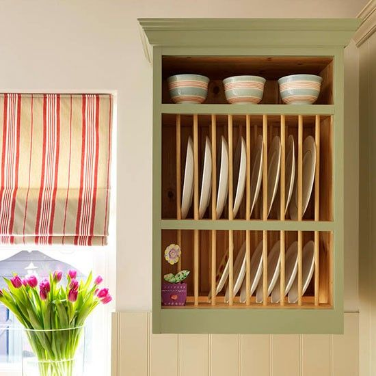 Plate rack | Step inside this traditional soft green kitchen | Reader kitchen | PHOTO GALLERY | Beautiful Kitchens | Housetohome