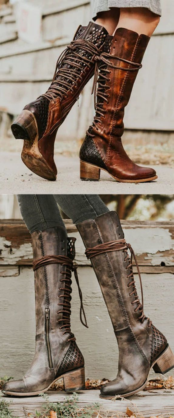 54% OFF>>Vintage Lace-up Hollow-Out Boots Chunky Heel Color Block Boots