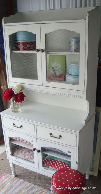 Restyled Vintage: Before and After - Shabby Chic Chicken Wire Hutch
