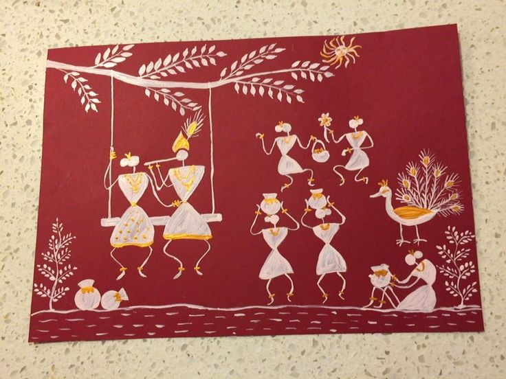 Radha Krishna in Warli painting by Seema Jay. 50 best My paintings images on Pinterest   Indian art  Acrylic