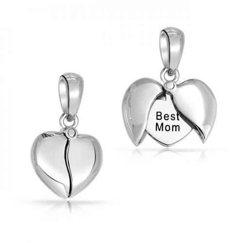 Bling Jewelry 925 Sterling Silver Opening Heart Best Mom Message Pendant