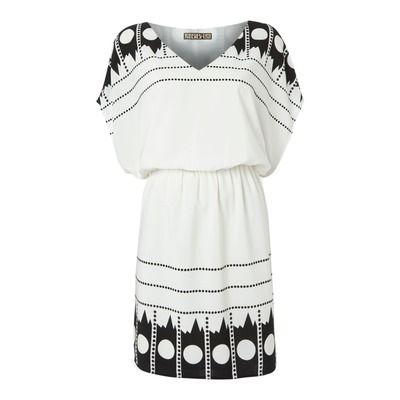 Biba Placement Print V Neck Dress