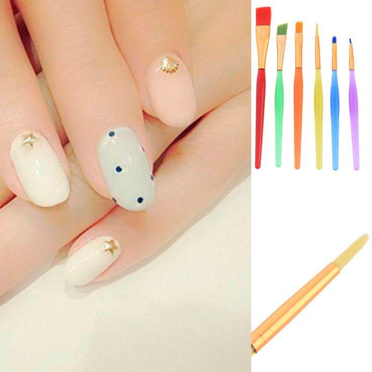 Professional 6pcs UV Gel Nail Art Painting Draw Brush Set Nail DIY Polish Design Salon Pen Brush Kit Tools