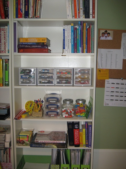 School Supply storage for child access. Great problem solver!