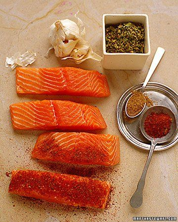 Chile-Rubbed Salmon with Papaya and Scallions