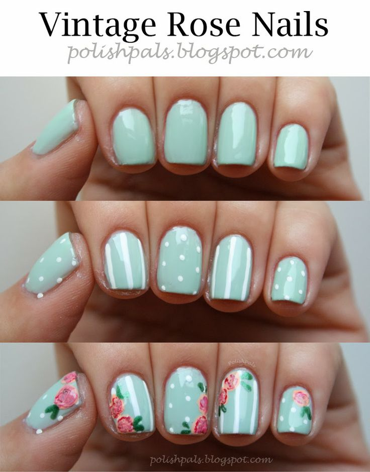 Love these vintage rose nails.