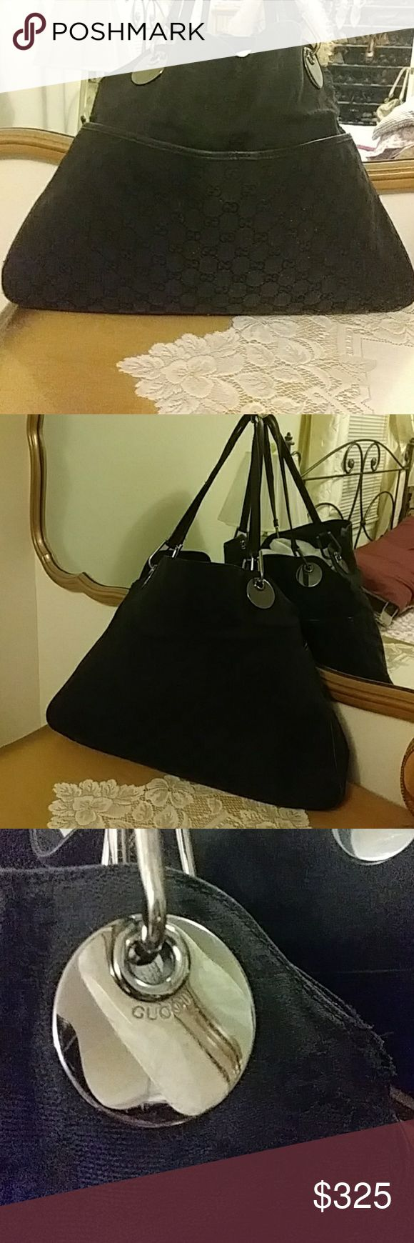 Authentic Gucci large Hobo Bag 15% off all bundles. Open to offers .. slight wear on both sides of bag not noticeable when worn measurements are 18 inches wide at largest Point by 12 in high strap drop 11 inches .. magnetic closure Gucci Bags Shoulder Bags