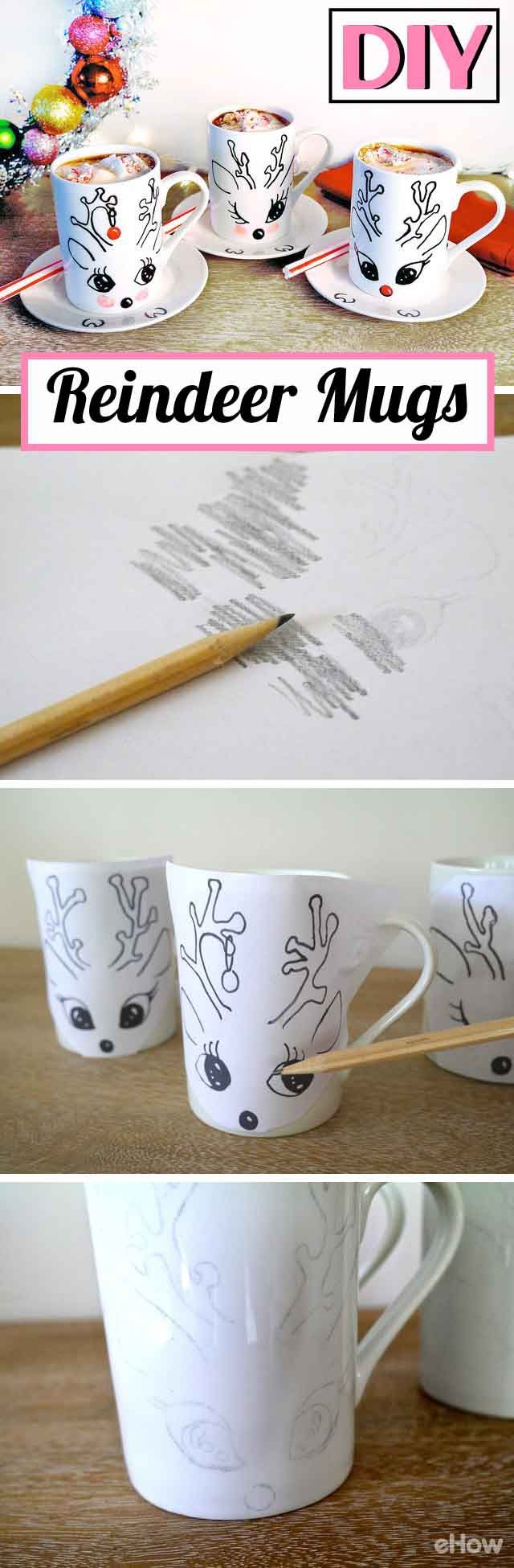 We cannot get over how adorable and easy these DIY reindeer mugs are! Free reindeer template you can download from the site. They are the perfect special gift to give anyone!  Hand painted mugs with matching saucers are just about as cute as it can get!  http://www.ehow.com/how_12343008_diy-holiday-reindeer-mugs.html?utm_source=pinterest.com&utm_medium=referral&utm_content=freestyle&utm_campaign=fanpage