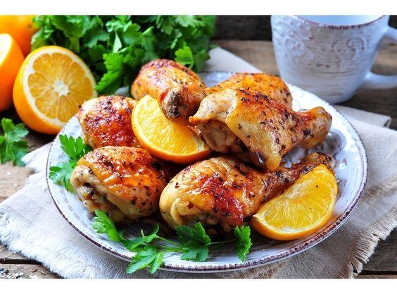 Сочная курица с апельсинами, медом и пряными специями