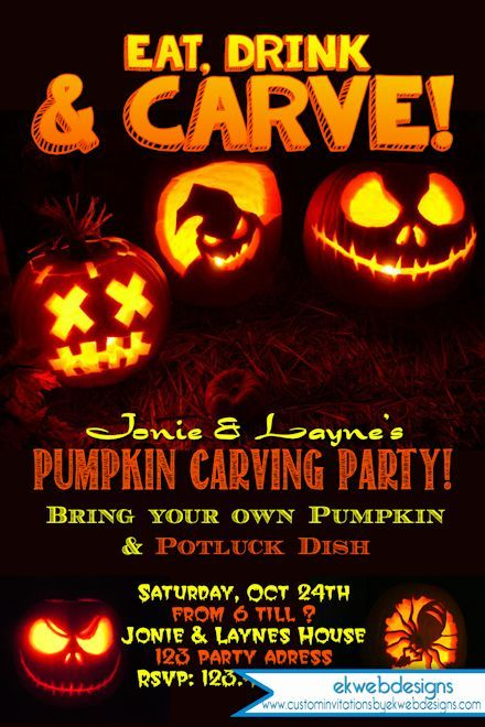 Halloween Party Invitation - Carving Pumpkin Party ...