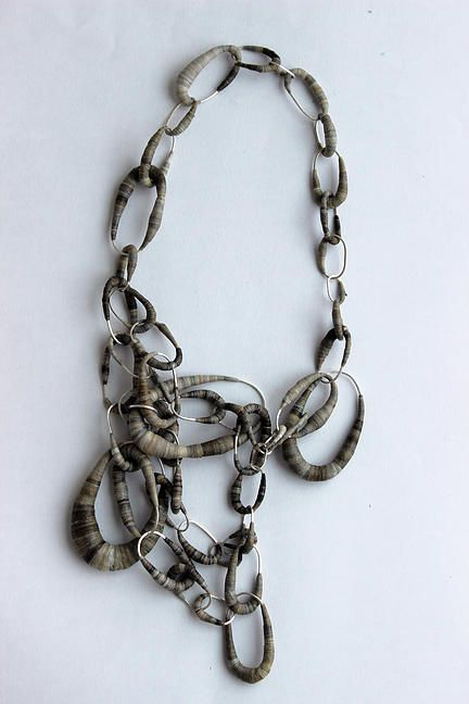 Rachel Blair jewellery - Bound neckpiece  - white metal & ink stained tape