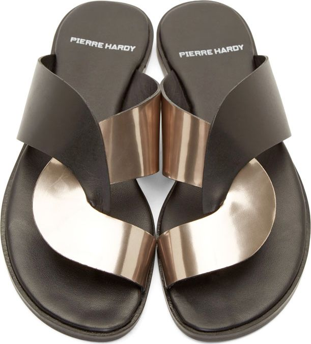Pierre Hardy Black & Pewter Intertwined Sandals