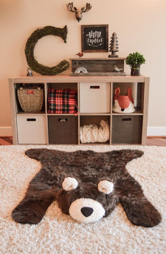 Woodland nursery baby bear rug by ClaraLoo