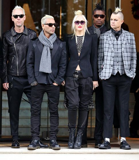 Gwen Stefani was flanked by her No Doubt bandmates Tom Dumont, Tony Kanal, and Adrian Young promoting their new album in England Sept. 26