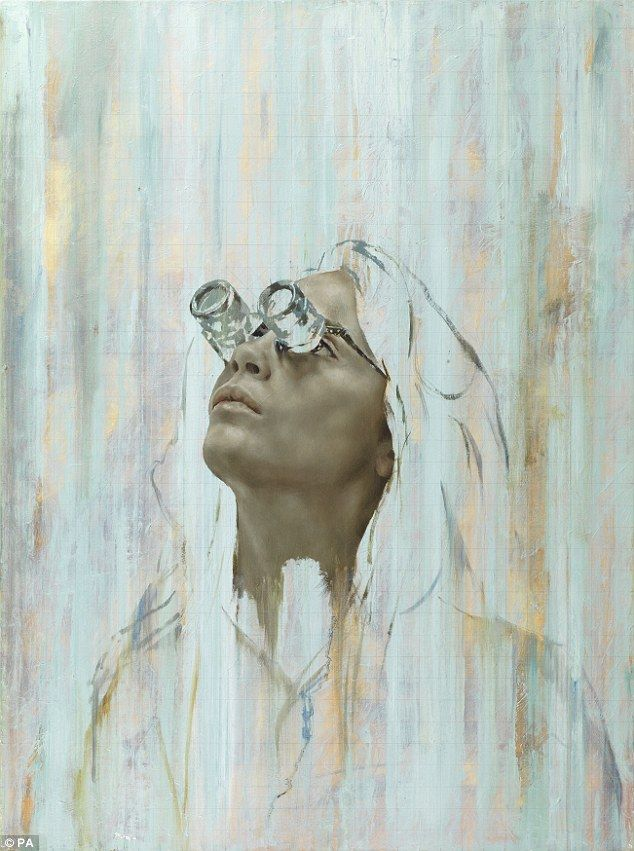 Fixated: One painting shows Cara looking raptly up into the distance wearing a goggle-style contraption