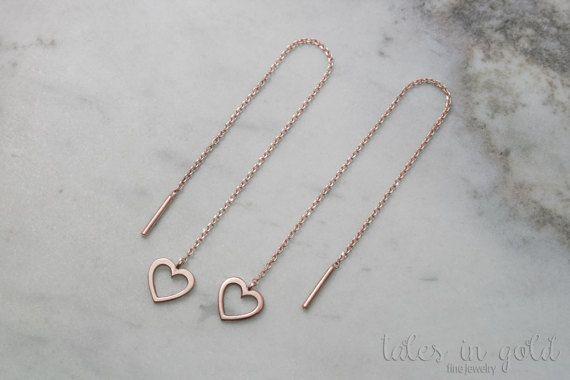 Heart Earrings Gold Earrings Long Earrings Threader by TalesInGold