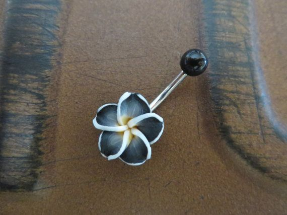 Black Hawaiian Flower Plumeria Belly Button Ring by Azeetadesigns
