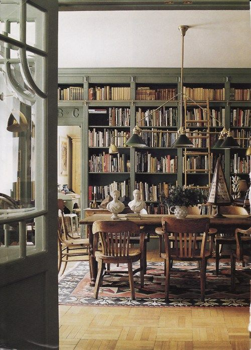 Old school books.: Bookshelves, Idea, Libraries Dining Rooms, Dream, Decoration, Interiors, Bamboo Forests, Slesin Libraries, Green Rooms