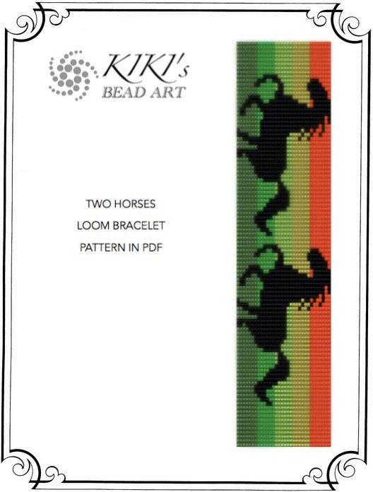 Bead Loom pattern, Two horses LOOM bracelet cuff PDF pattern - instant download