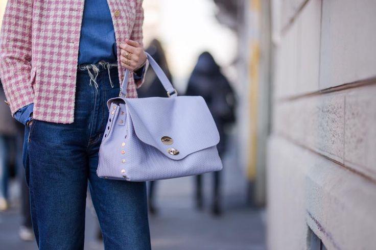 Postina® M Cachemire Blandine Fiordaliso  Borsa donna in pelle sfoderata, serigrafata Blandine #ilovepostina #blandine #zanellato #satchelbag #handbag