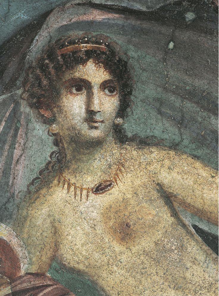 (m) - En dépit de l'omniprésence de l'intertexte homérique, Virgile, dans l'Énéide, magnifie la grandeur, voire la supériorité de Rome avant tout. La caractérisation d'Énée, héros beaucoup plus individualisé que ceux d'Homère, dont les vertus (courage, fermeté, loyauté) seront dites romaines, rejoint la propagande impériale  - Détail de Vénus à la coquille, fresque, 45-79 apr. J.-C., maison de la Vénus à la coquille, Pompéi. Musée archéologique national, Naples