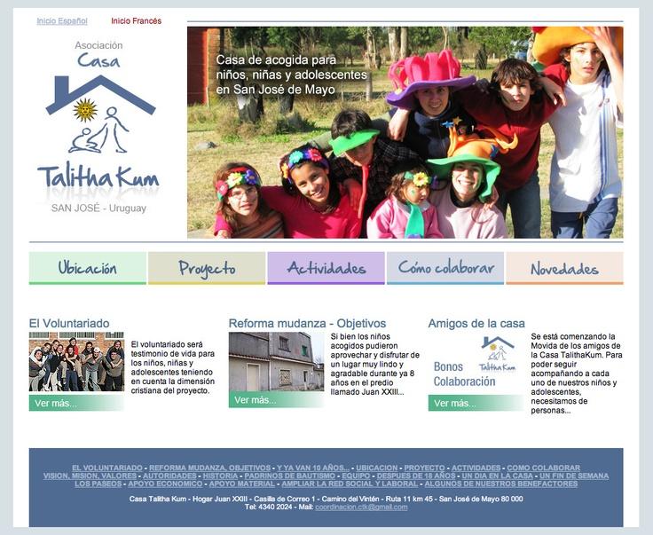 Web de Casa Talitha Kum.  Hogar de niños y adolescentes en el departamento de San José, Uruguay.
