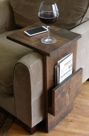 Sofa Chair Arm Rest TV Tray Table Stand With Side Storage Slot For Tablet  Magazine.