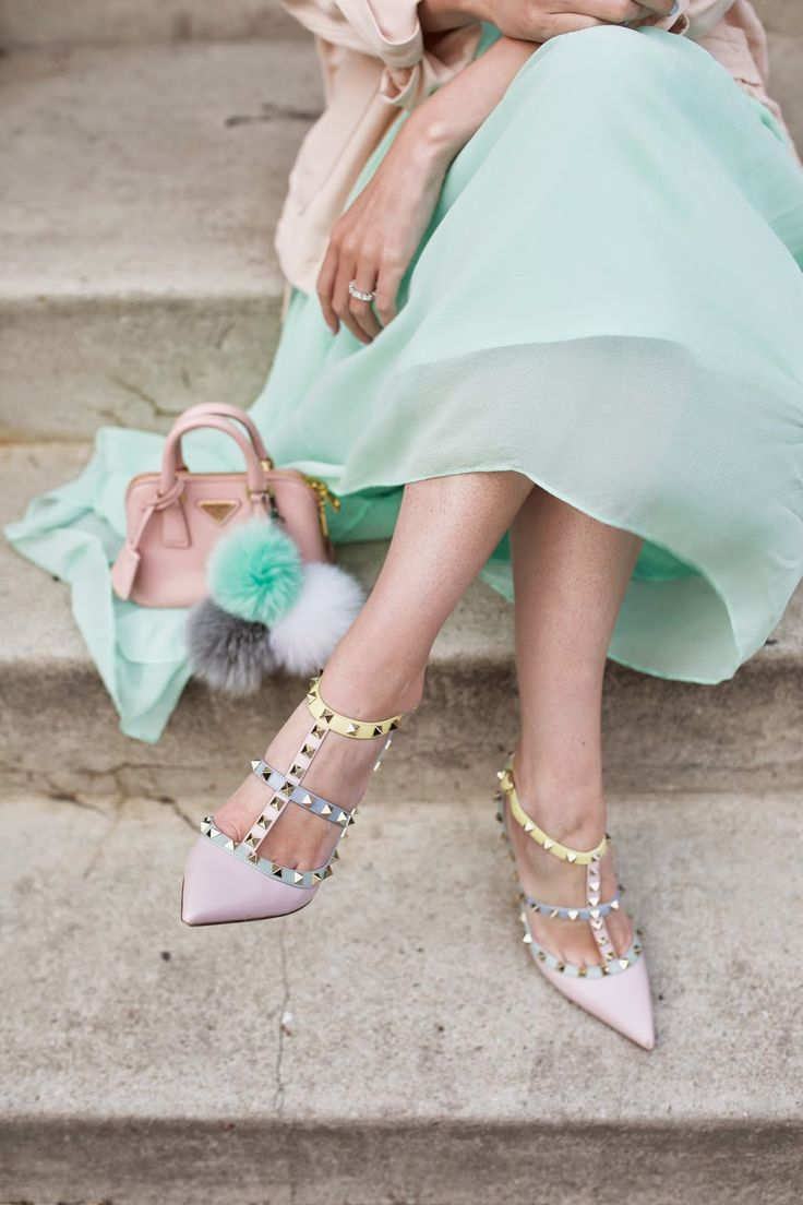 CLICK through for full outfit details! // pastels in the city | // Atlantic-Pacific Blair Eadie Valentino, Tibi, Prada