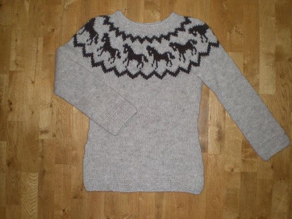 Very nice beige and dark brown hand knitted sweater with horse patterns,made of wool from Iceland called Lopi,