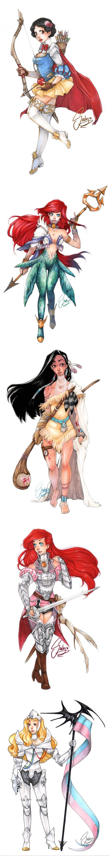 Disney Princesses Re-Imagined As Medieval warriors