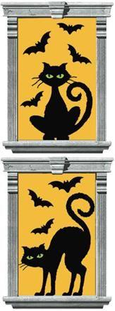 Décoration Halloween Chat et Chauve-souris (x2)